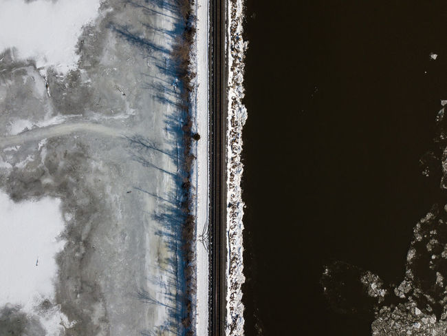 Hudson River near Newburgh, NY Drone  Freezing Frozen Hudson River Ice New York Railroad Track Serenity Travel Winter Aerial View Beauty In Nature Chilly Cold Day Frigid Nature No People Outdoors River Serene Snow Train Upstate New York Water