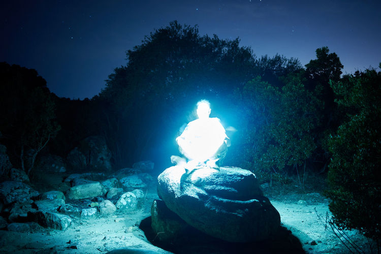 meditation rock Ghost Light Painting Meditating Meditation Beauty In Nature Glowing Heat - Temperature Illuminated Land Lifestyles Men Nature Night One Person Outdoors Plant Real People Rock Rock - Object Sky Solid Tree Water A New Beginning A New Perspective On Life Capture Tomorrow Humanity Meets Technology