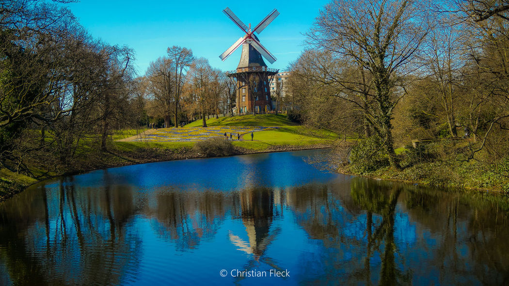 Bremer Wallmühle Bremen Mill Germany Check This Out Water Water Reflections Reflection Blue Sky Eye4photography  EyeEm Best Shots Green Summer