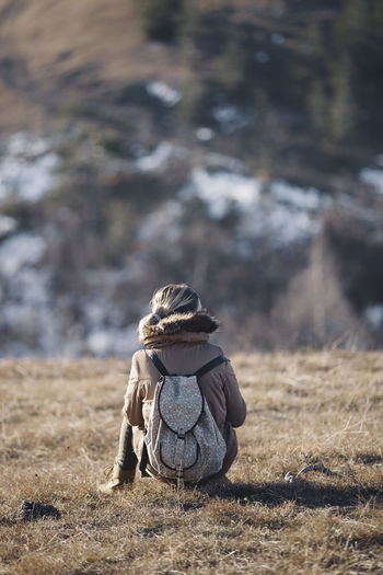 Winter in Serbia. Day Nature One Person Outdoors People Rear View Rucksack Sitting Woman