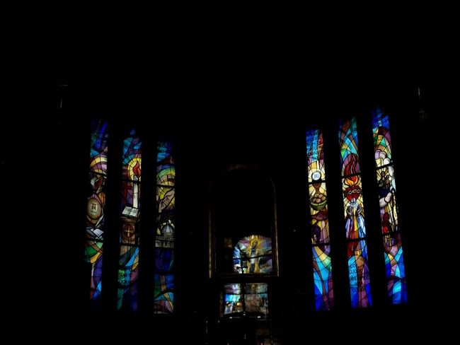 photo. Church Window Stained Glass Spirituality Place Of Worship Religion Multi Colored Architecture Arch Indoors  Built Structure Glass - Material Dark Architectural Column Colorful Architecture And Art Arched Gothic No People