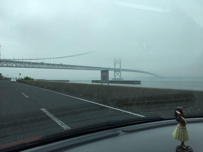 Rainning Cloudy 明石大橋 Bridge Awajishima Sea Side 淡路島 Hyogo,japan Transportation Sky Nature Water Mode Of Transportation Sea Road Car Travel Day Bridge - Man Made Structure Outdoors