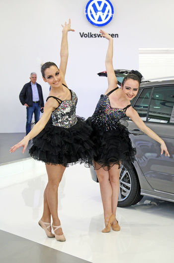 Zagreb Auto Show,ballet beauty,25,Zagreb,Croatia,EU,2016. Art Ballerina Ballet Ballet-girl Croatia Enjoyment Entertainment Eu Happiness Indoors  Looking At Camera Person Show Smiling Young Adult Young Women Zagreb Zagreb Auto Show 2016.