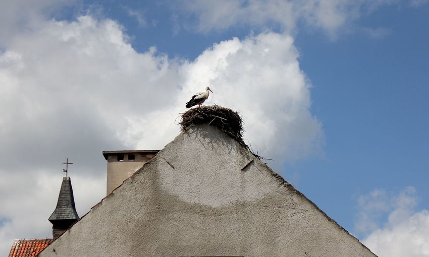 Low Angle View Of Stork Perching In Nest On House Against Cloudy Sky