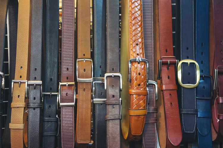 Full frame shot of belts for sale at market