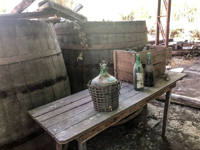 Derelict Winery in Chile Chile Wine Winery Memorabilia Abandoned & Derelict Sunlight Nature Seat Chair Table Day No People Wood - Material Food And Drink Shadow
