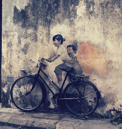 Children On Bicycle Mural NewToEyeEm Painting Wall Painting Tourist Destination Art Penang Malaysia