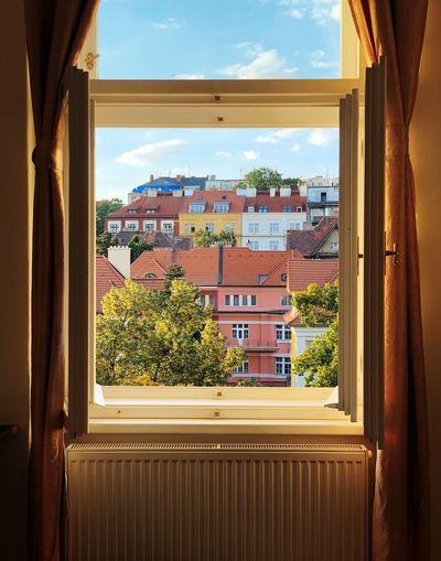 Houses seen through window