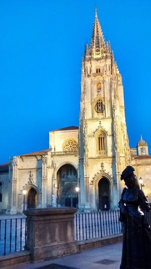 Architecture Building Exterior Blue Religion Clear Sky Cathedral Spirituality Outdoors Old Town Façade SPAIN History Built Structure City Citylife Vetusta Oviedo