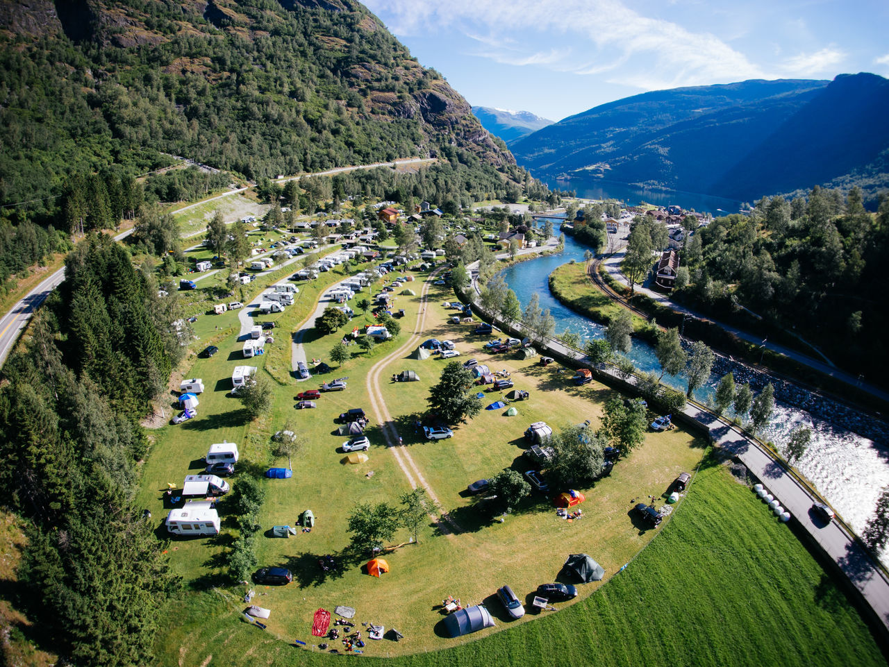 High Angle View Of Campsite