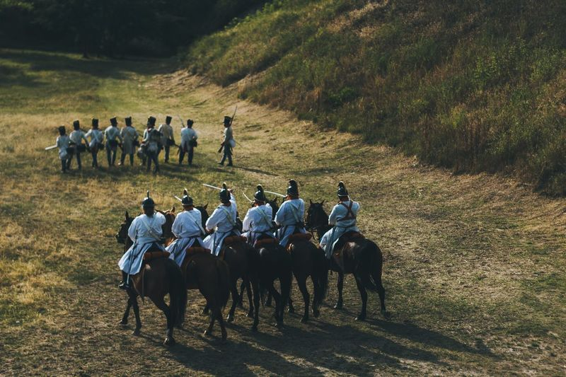 Reenactment Domestic Animals Large Group Of Animals Horse Real People Large Group Of People Army Soldier 1848 Revolution War Of Independence EyeEm Selects