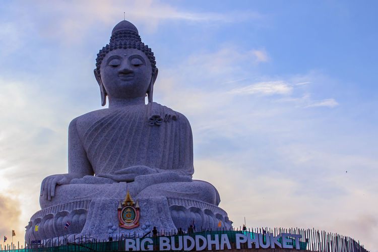 Amazing Massive white marble Buddha statue, the famous tourist attraction on top of hill in Phuket, Thailand. Big Buddha Marble Statue Massive Stone Buddha Architecture Big Buddha Temple Big Buddha Statue Big Buddha, Thailand Built Structure Cloud - Sky Day Giant Buddha Human Representation Idol Low Angle View Male Likeness Marble Buddha Marble Stone Nature No People Outdoors Religion Sculpture Sky Spirituality Statue Travel Destinations Worship Places