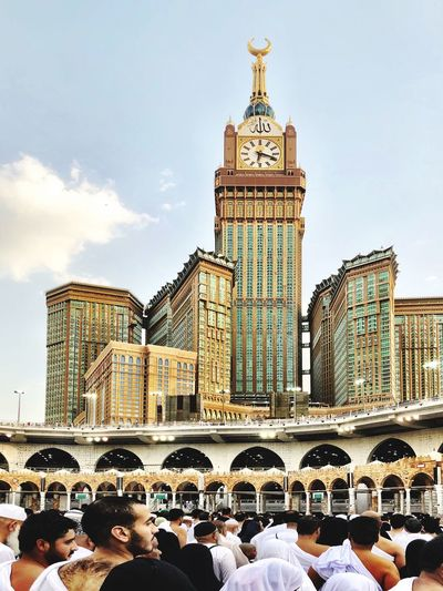 Makka Clock Group Of People Sky Crowd Place Of Worship