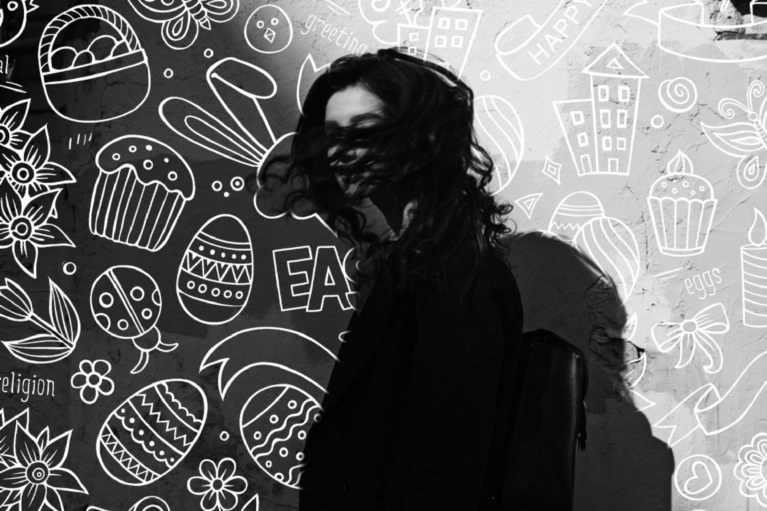 black, one person, black and white, monochrome photography, monochrome, pattern, adult, drawing, indoors, standing, young adult, lifestyles, waist up, creativity, wall - building feature, portrait, women, casual clothing, art, looking, leisure activity, font