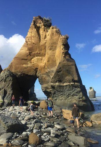3 sisters Beauty In Nature Nature Outdoors Scenics Taranaki Coastline Sky Water Tranquil Scene Sand Rock - Object Landscape Geology Beach Travel First Eyeem Photo EyeEmNewHere