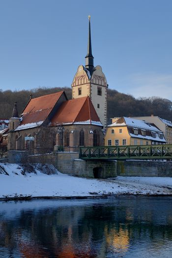 The St.Mary Church in Gera Building Exterior Architecture Built Structure Building Cold Temperature Sky Snow Winter Water No People Reflection Nature Religion Waterfront Place Of Worship Belief Outdoors Spire  Gera Germany River Riverside Untermhaus St.Mary