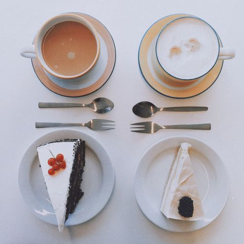 There's always time for tea (and coffee!) and cake! Food And Drink Sweet Food Food Drink Freshness Refreshment Coffee Cup Indoors  Plate Directly Above Ready-to-eat Indulgence High Angle View Still Life Dessert Coffee - Drink Temptation Cup Unhealthy Eating Non-alcoholic Beverage Flatlay