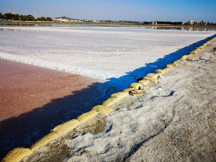Scenic view of salt flat