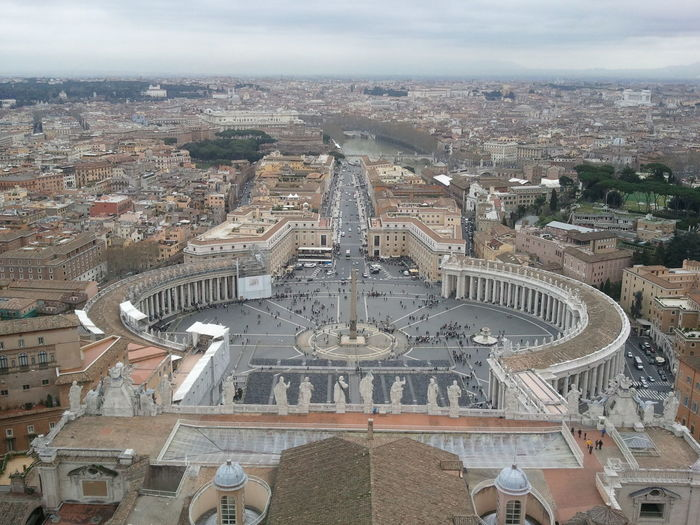 Aerial View Of St Peters Square Against Cloudy Sky