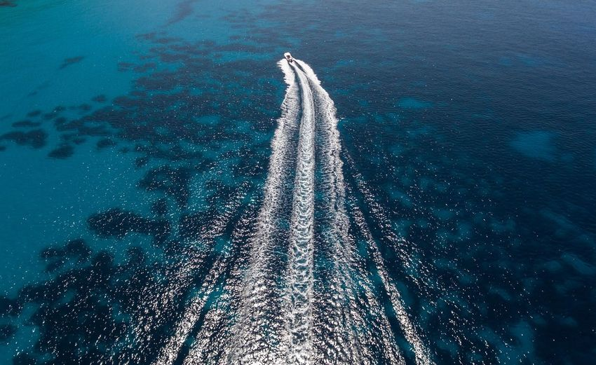 High Angle View Sea Nautical Vessel Transportation Water Day Wake - Water Nature Outdoors Beauty In Nature No People