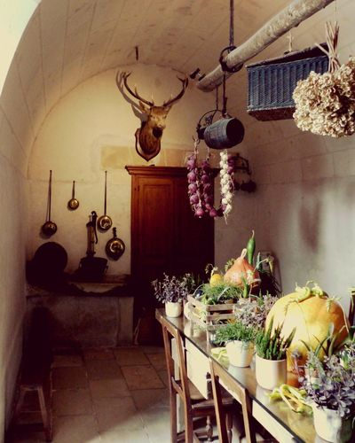 Historic Kitchen at Chateâu Chenonceau in France... Indoors  Luxury Table No People Flower Architecture The Week On EyeEm Kitchen Table Kitchen Interior Empty Places Historical Place Deer Antler Deer Interior Interior Decorating Interior Photography