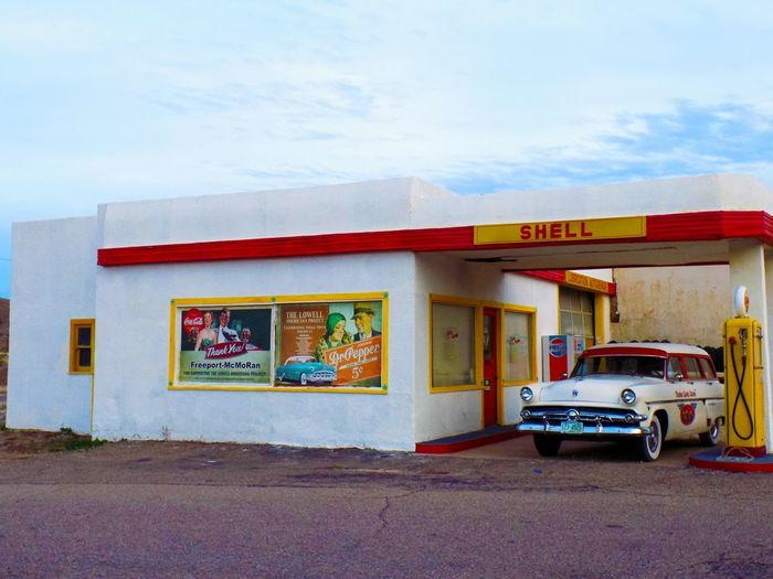 Gasstation White Blue Sky Clouds Yellow Red 1920s Store Architecture Red Outdoors Building Exterior Multi Colored No People Day Sky
