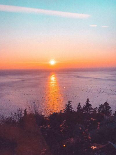 Sun Sunset Sunset Sky Beauty In Nature Scenics - Nature Water Sun Tranquility Tranquil Scene Orange Color No People Horizon Sea