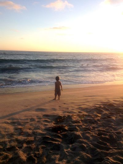 California Carlosbad Beach Beautiful Ocean Sunset  Curious Boy Waves, Ocean, Nature Familyday Ocean Life In Motion Capture The Moment
