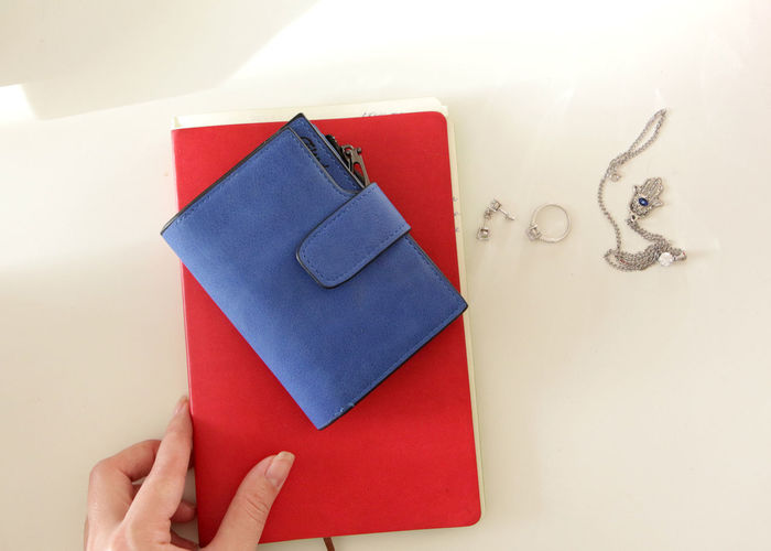 Blue Red White Blue Wallet Fancy Jewelery Minimalistic Organisation Organizer Planning Planning Notebook Pocket Wallet Red Red And Black Red And White Silver Jewelry Stylish Wallet White Surface