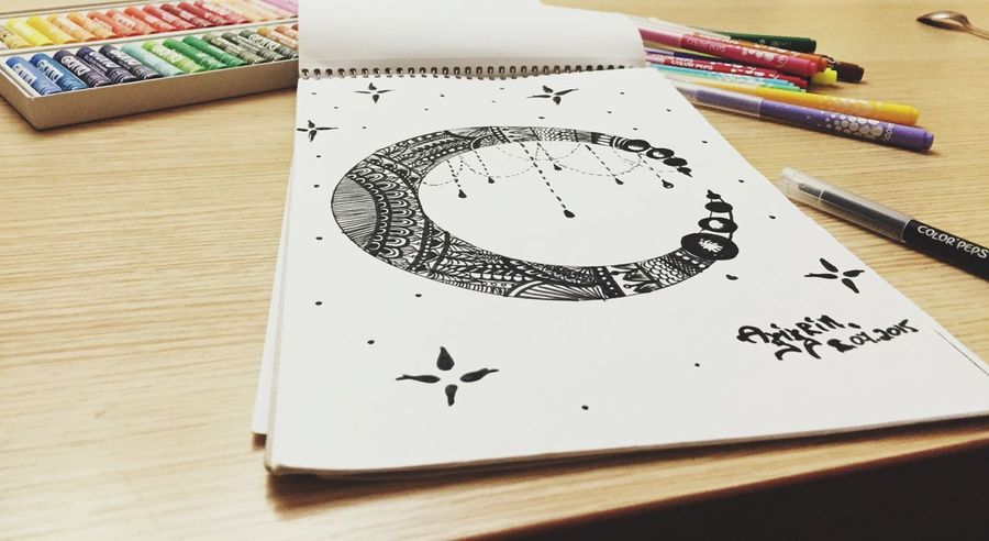 zentangle:) Check This Out Drawing Art Beautiful Amazing Picture Moon Hanging Out Hello World Zentangle