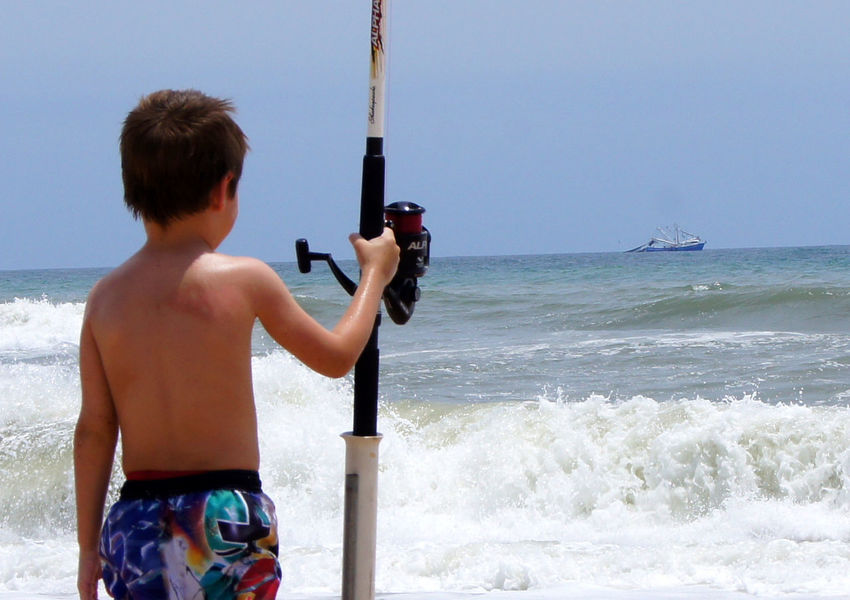 Boy of Big Dreams Adventure Beach Beauty In Nature Boy Dreaming Of Being Shrimper Boys Childhood Clear Sky Day Fishing Pole Holding Horizon Over Water Leisure Activity Lifestyles Nature One Person Outdoors Real People Scenics Sea Shirtless Sky Standing Vacations Water Breathing Space