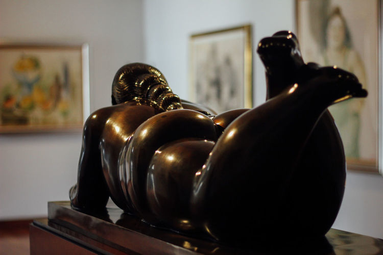 Close-up of statue on table at home