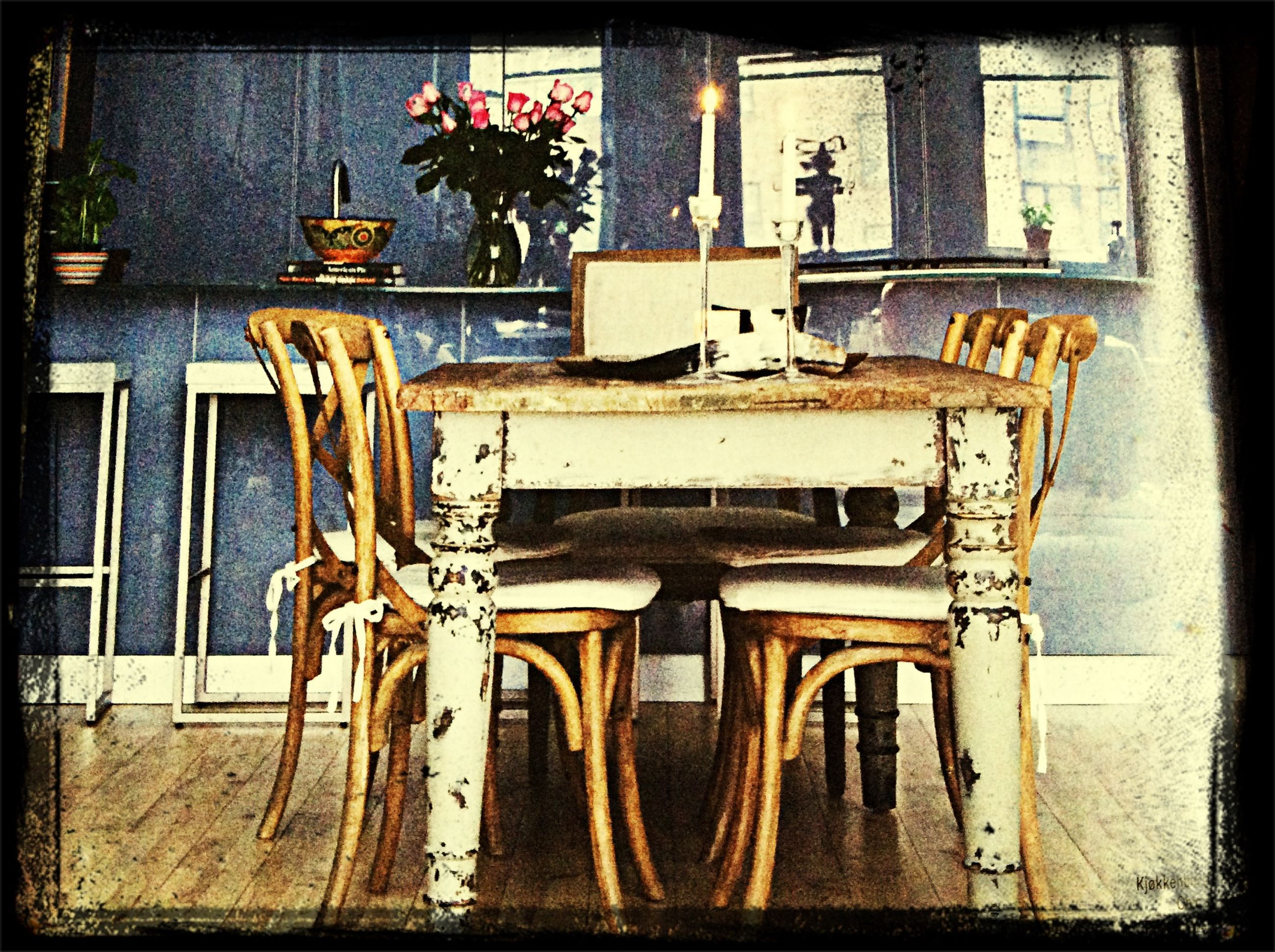 transfer print, auto post production filter, chair, wood - material, absence, empty, built structure, old, no people, architecture, day, table, indoors, seat, sunlight, wood, wooden, abandoned, hanging