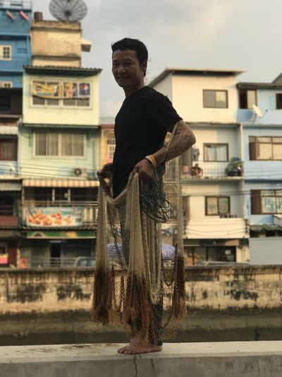 Adult Adults Only Arts Culture And Entertainment Bangkok City Day Fisherman Fishing Fishnet Men One Man Only One Person Outdoors People River Shallow Depth Of Field Thai Thai People Thailand