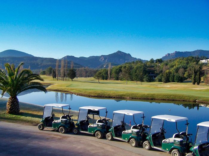 GC Cannes-Mandelieu Golf Golf Course Blue Clear Sky Copy Space Day Lake Nature Plant Sky Travel Destinations Tree Trolleys