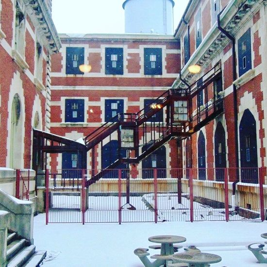 Ellis Island - New York Ellis Island  Steps And Staircases Staircase Steps New York New York City Abandoned Snow Frozen In Time