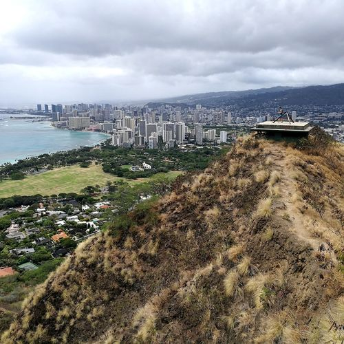 Diamond Head Crater Trail Crater Diamond Head Diamond Head Crater Diamond Head Trail Honolulu  Oahu Hawaii USA Travel Photography Nature Water Sea Beach Harbor Storm Cloud Sand Nautical Vessel Sky Horizon Over Water Building Exterior Seascape Coastline Rocky Coastline Ocean