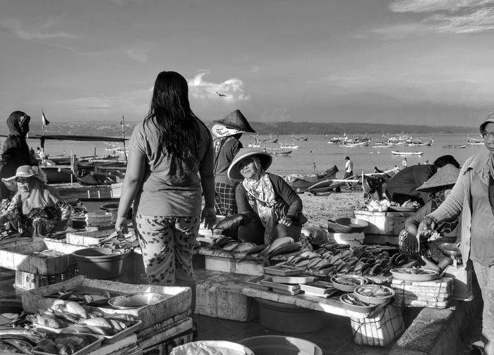 On a Fish Market Monocrome Blackandwhite Black And White Fish Traditional Market Fish Market On The Beach Sale And Buy Bargain Kedonganan Kedonganan Beach ,Bali Sea Beach Women Young Women Sky Horizon Over Water