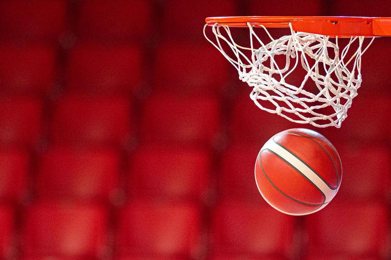 Low angle view of basketball hoop