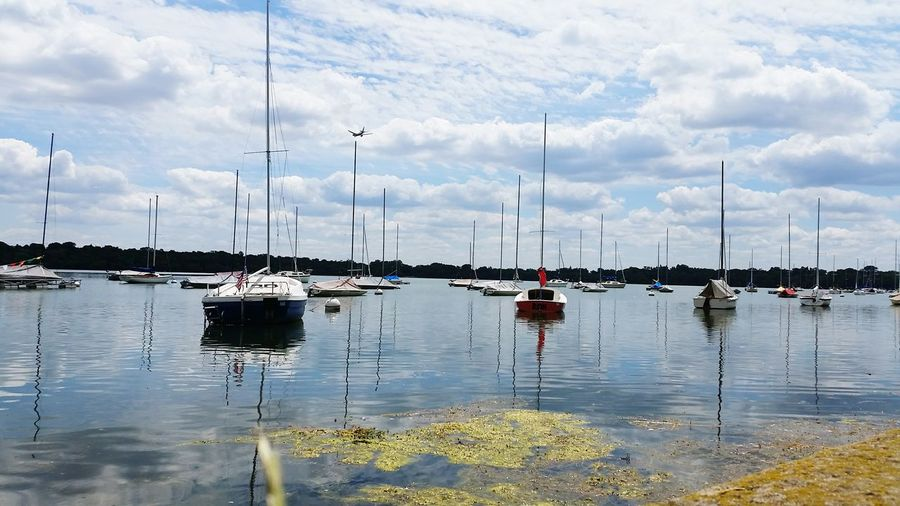 Scenic view of sailboats in water against cloudy sky