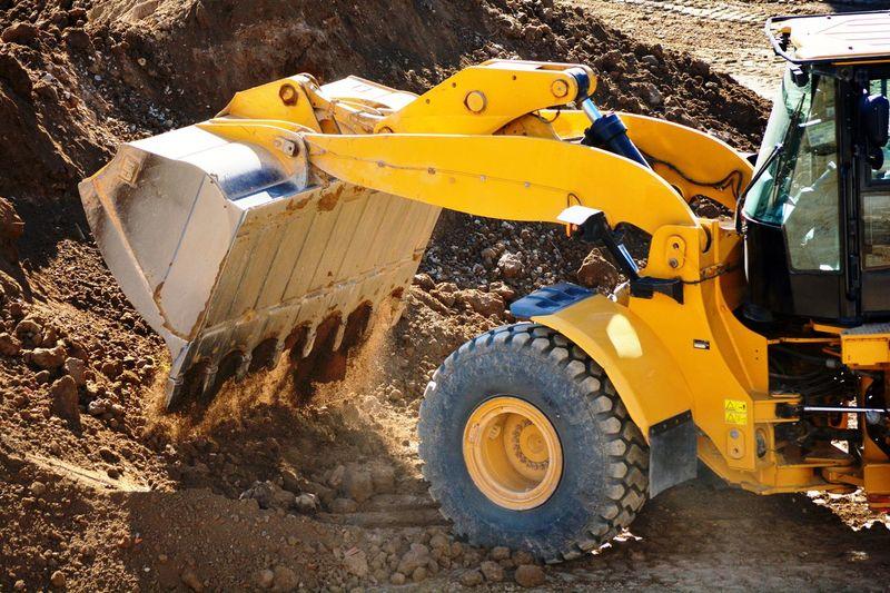 View of yellow excavator