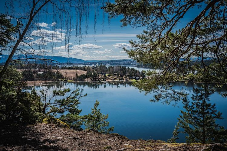 View over a lake, in blue and green colours. Green Norway View Views Blue Lake Landscape Mountain Narture Peaceful Scenics Viewpoint