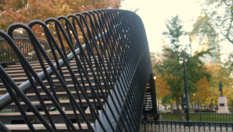 Close-up of metal railing in park