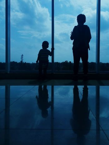 Silhouette Reflection Cloud - Sky Window Child Togetherness Lampung, Indonesia INDONESIA Lampung