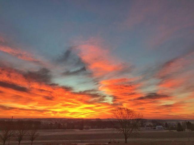 Sunrise Sky Sunset Orange Color Beauty In Nature Dramatic Sky Scenics Tranquil Scene Tranquility