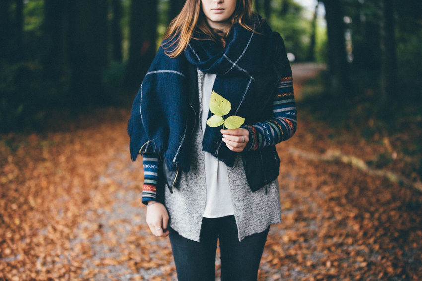Adventure Autumn Autumn Beautiful Woman Day Fall Fall Colors Fall Leaves Forest Front View Human Hand Leaf Lifestyles Mood Nature Nature One Person Outdoor Outdoors Outside Tree Trees Woman Woods Young Adult