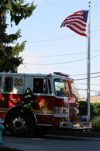 Transportation Day Land Vehicle Outdoors Tree No People Sky American Flag Firetruck