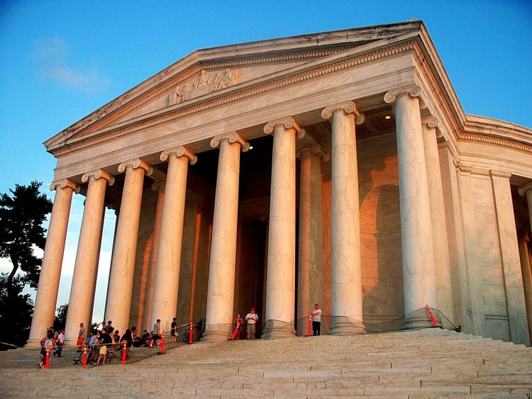 Jefferson Memorial at Sunset Architecture Architectural Column Travel Destinations History Tourism Politics And Government Historic Site Jefferson Memorial Thomas Jefferson Washington, D. C. Classical Architecture National Monuments American History U. S. Presidents