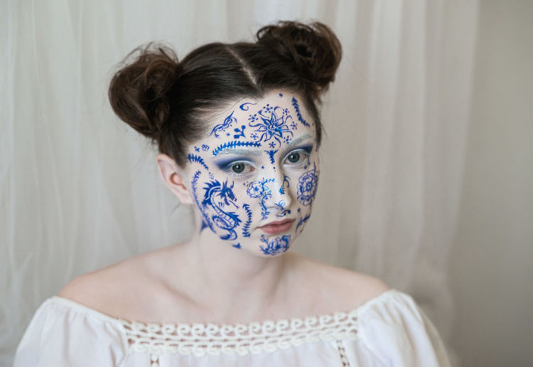 Beautiful woman with face paint