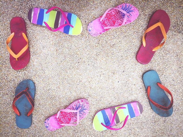Flipflops Flip-flop Flipflops Frame Multi Colored Beach Sand Pattern Females Close-up